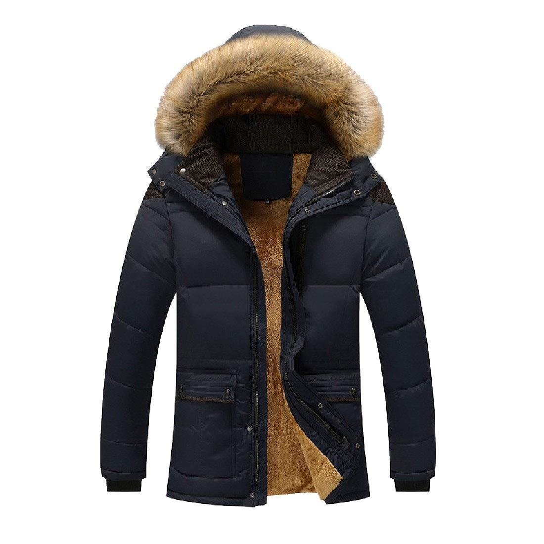 YUNY Mens Faux Fur Hooded Oversized Quilted Parka Jacket Outdoor Coat Blue M