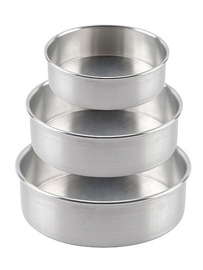 Prime Enterprises Aluminium 2Kg/1Kg/0.5kg Round Cake Mould (3 Pieces) - Silver