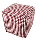 BrandWave Cotton Cover Square Pouf Ottomon/Seat - Red and White Diamond Pattern - Soft Yet Sturdy Design - 18x18x18