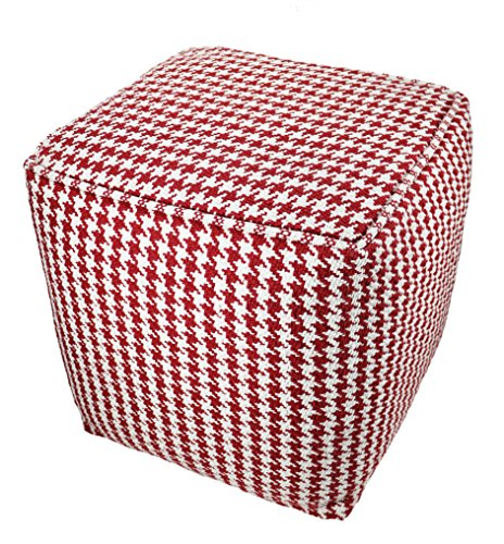 BrandWave Cotton Cover Square Pouf Ottomon/Seat - Red and White Diamond Pattern - Soft Yet Sturdy Design - 18x18x18 by BrandWave by Lifetime Buy