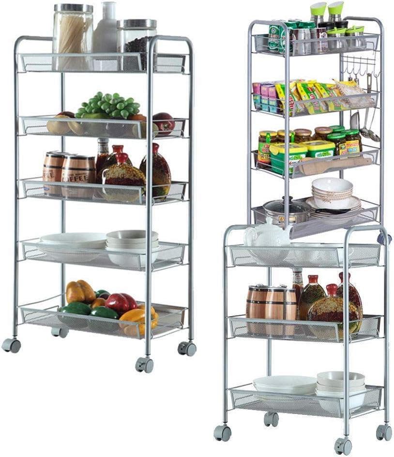 SSLine 4 Shelf Metal Rolling Cart on Wheels Kitchen Storage Basket Shelves Organizer Mobile Bathroom Laundry Room Utility Storage Cart Trolley