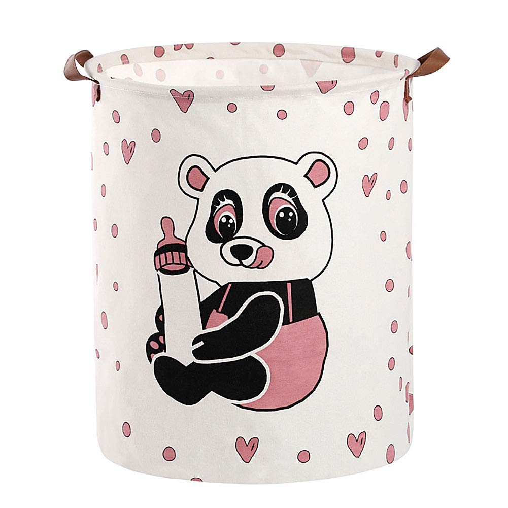 JiatuA Collapsible Laundry Basket, Laundry Hamper Waterproof Laundry Basket with Handles and PE Coating Inside for Washing Room, Baby Nursery, Cute Panda