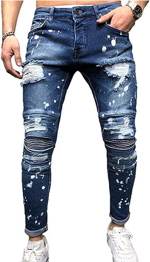 Dookingup Pantalones De Mezclilla Para Hombre De Moda Rasgados Corte Ajustado Pierna Conica Pantalones Vaqueros Destruidos Elasticos Con Agujeros Ajustados Amazon Com Mx Ropa Zapatos Y Accesorios