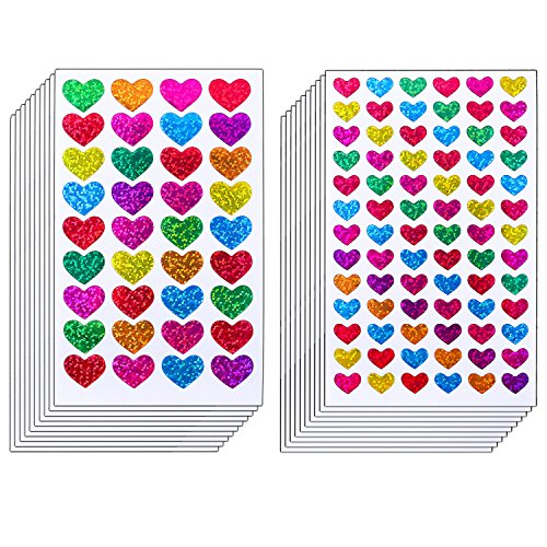 Resinta 60 Sheets Glitter Heart Stickers Valentine's Day Love Decorative Sticker for Scrapbooking or Embellishment (Colorful Heart)]()