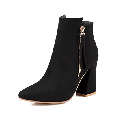 Women's Low-top Zipper Frosted High-Heels Pointed Closed Toe Boots
