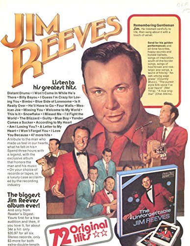 Jim Reeves Vintage ad original 1pg 8x10 clipping magazine photo #1011