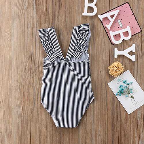 8094482c1811e ITFABS Newborn Baby Girl Floral Swimsuit Ruffles Bathing Suit Bikini  Striped Swimwear for Baby Girls Beach