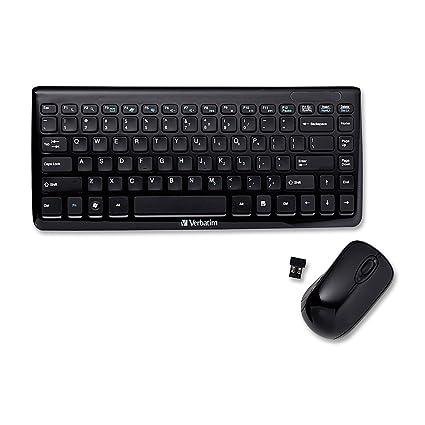 Verbatim Mini Wireless Slim Keyboard and Mouse - Teclado (RF inalámbrico, QWERTY, Negro