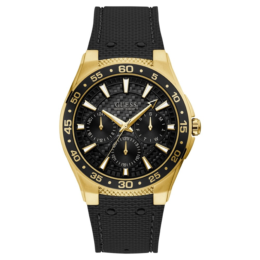 Guess Mens W1171g2 Atlantic Gold Plated Black Resin Strap