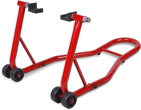 Costway Motorradständer Hinten Montageständer Motorrad Ständer Halter Radhalter Für Hinterrad Hinterradständer Breitenverstellbar Farbwahl Rot Auto