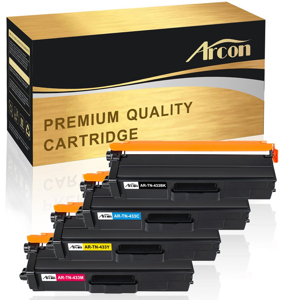 Arcon 4Pack TN433 TN431 Compatible for Brother TN-433 TN-431 Toner Cartridge Brother HL-l8360cdw HL-l8260cdw HL-l8360cdwt MFC-l8610cdw MFC-l8900cdw L8360cdw L8900cdw Color Laser All-in-One Printer Ink