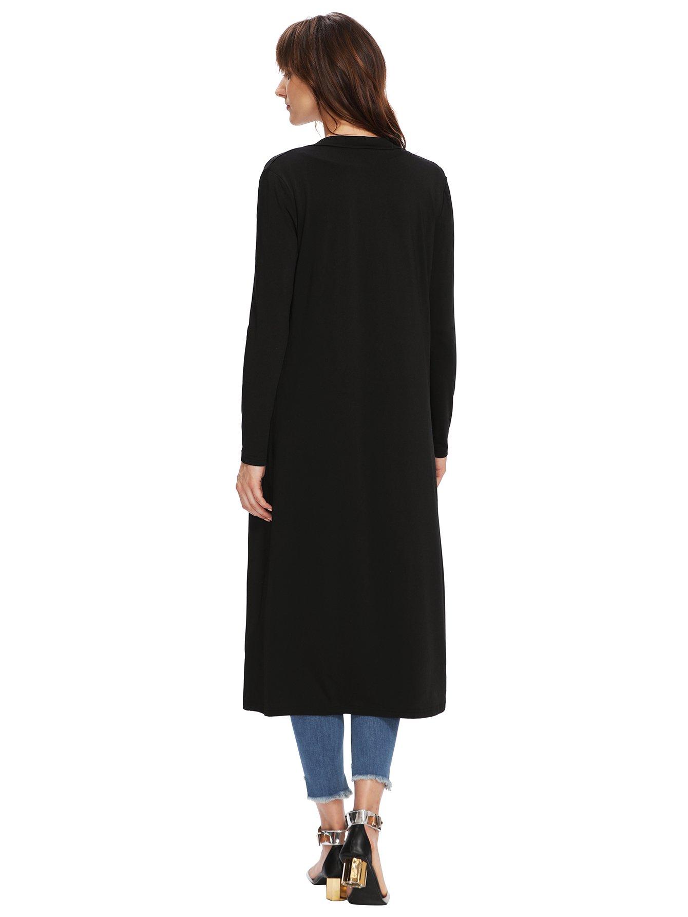 Verdusa Women's Long Sleeve Open Front Long Maxi Cardigan Longline Duster Coat Black M by Verdusa (Image #4)