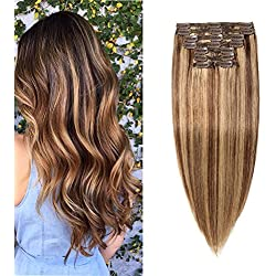 "Double Weft 100% Remy Human Hair Clip in Extensions Highlight 14''-22'' Grade 7A Quality Full Head Thick Long Soft Silky Straight 8pcs 18clips (16"" / 16 inch 130g,#4/27 Medium brown/Dark Blonde)"