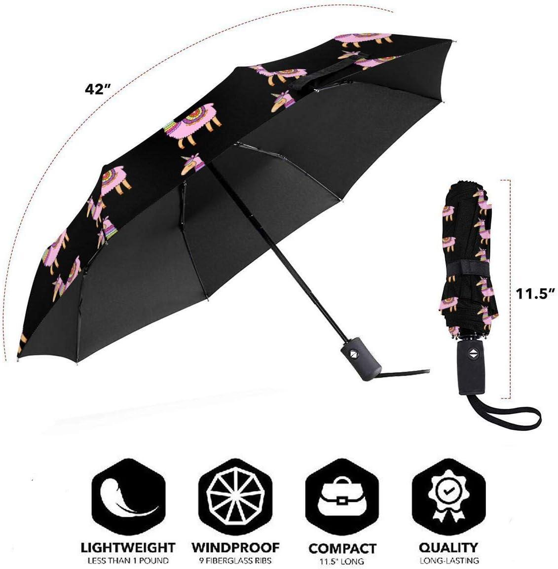 Cute Unillama Automatic Tri-Fold Umbrella Parasol Sun Umbrella Sunshade