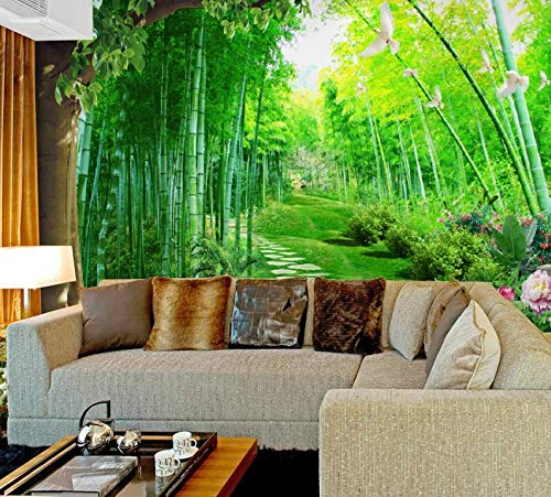 Wallpaper Forest Path Bamboo Sunbeam Art Silk Fabric Poster Print Wall Pictures Living Room Home Decoration-150X120CM
