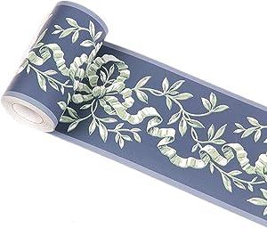 Ssamall 10Meters Dark Blue Vintage Wallpaper Border Peel & Stick Wall Borders Bathroom Kitchen Decor Sticker