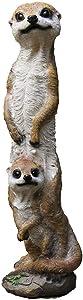 Brown Meerkat Animal Statue, Resin Meerkat Garden Statue Family Yard Art 18.1-Inch
