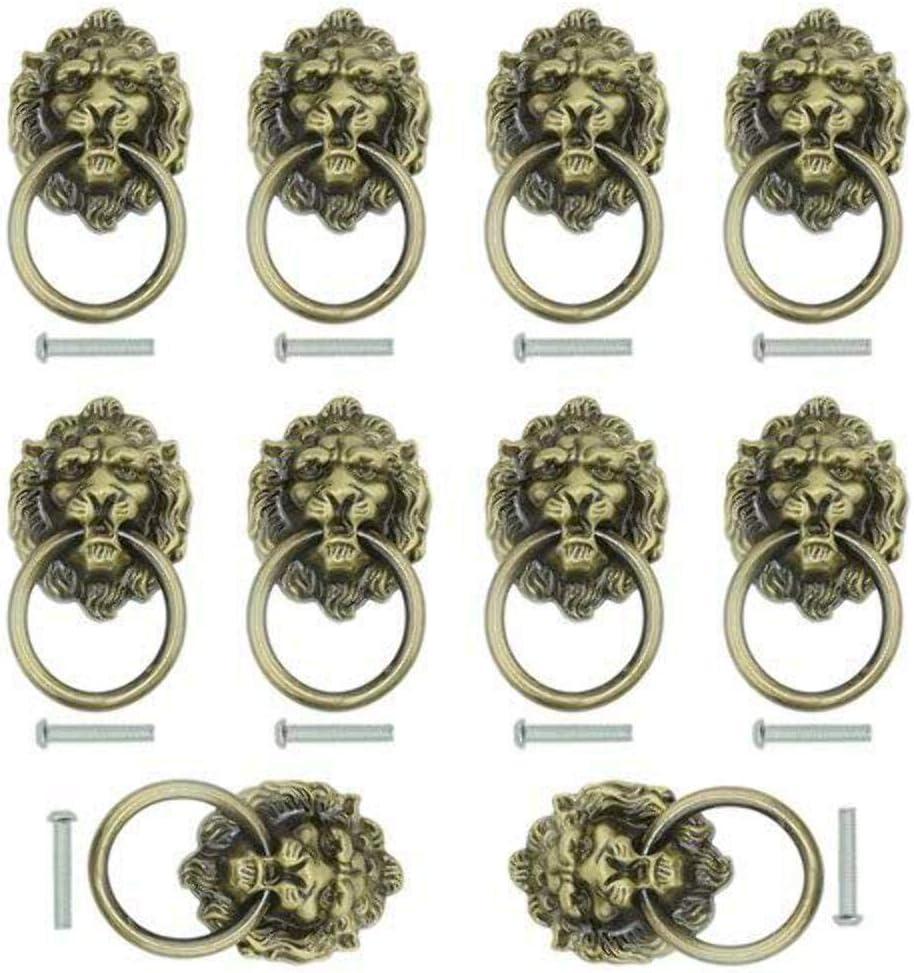 VOWAN 1 Piezas Manijas de Muebles Antiguos Hojas Tirador Tallado a Rayas Tiradores de Puerta Caja de joyer/ía Tiradores de gabinete de Bronce