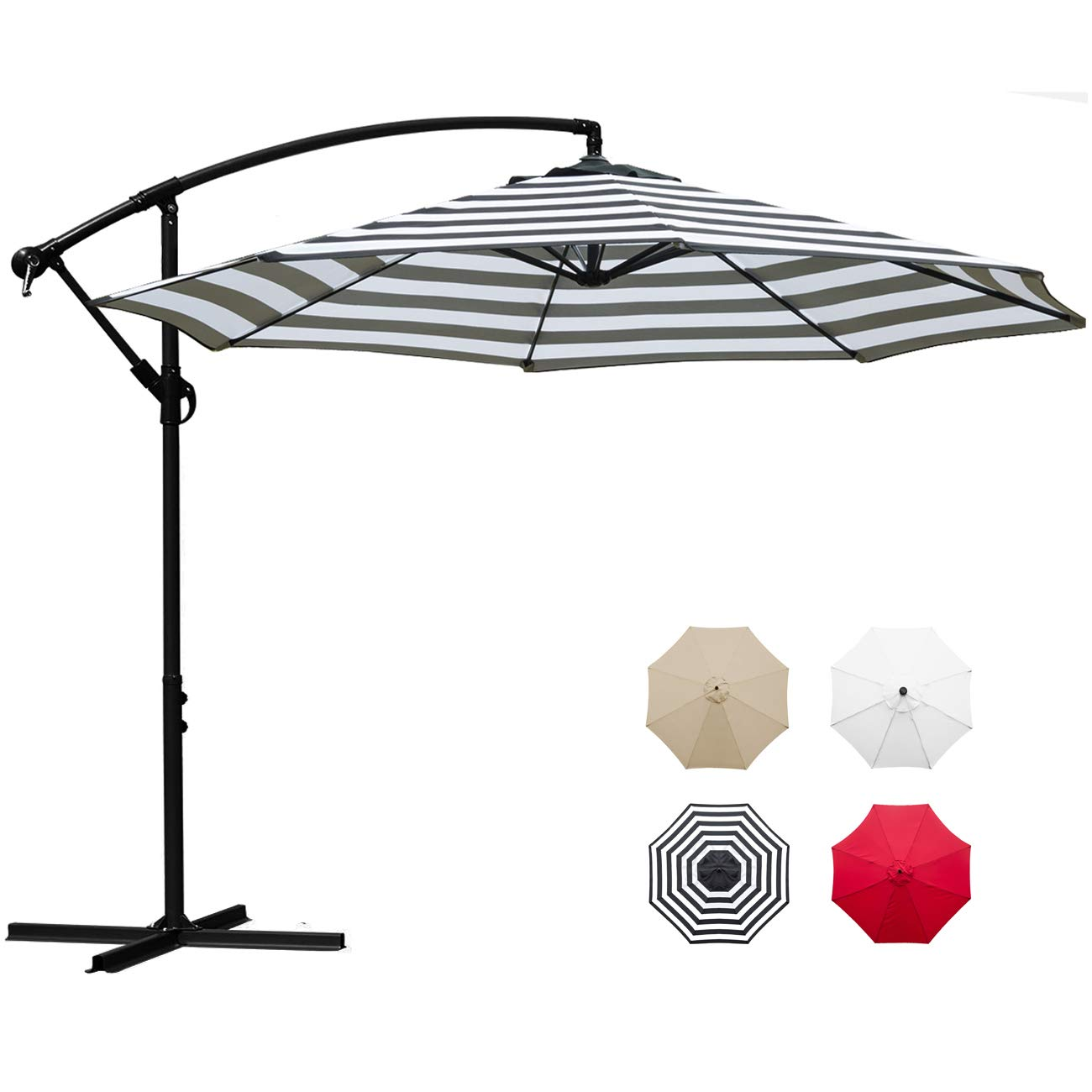 Sunnyglade 10' Outdoor Adjustable Offset Cantilever Hanging Patio Umbrella (Black and White) by Sunnyglade