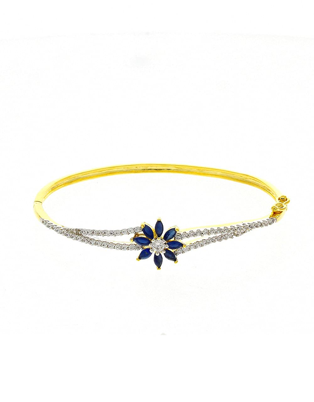 Anuradha Art Golden Finish Styled with Blue Colour Studded Shimmering American Diamonds Classy Hand Bracelets//Kada for Women//Girls