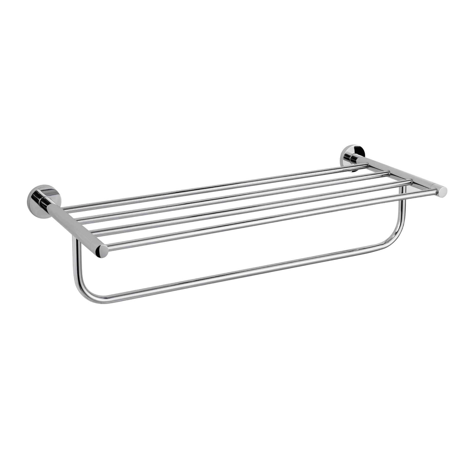 MAYKKE Nob Hill 24'' Towel Rack Shelf and Bar | Modern Wall Mount Towel and Accessories Holder for Bathroom, Shower, Kitchen | Polished Chrome, AHA1000901