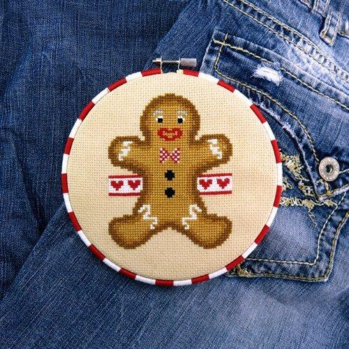 Amazon Gingerbread Man Cross Stitch Pattern Chart Only Handmade