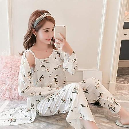 3 Pijamas para Mujer Primavera y Verano Muebles para el hogar Pijama de Tres Piezas Camisa de Vestir Pantalones Anchos: Amazon.es: Hogar