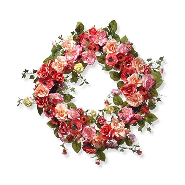 National Tree 32 Inch Spring Wreath with Red, Pink and Cream Roses (RAS-AW030212A)