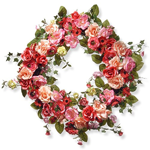 National Tree 32 Inch Spring Wreath with Red, Pink and Cream Roses (RAS-AW030212A) ()