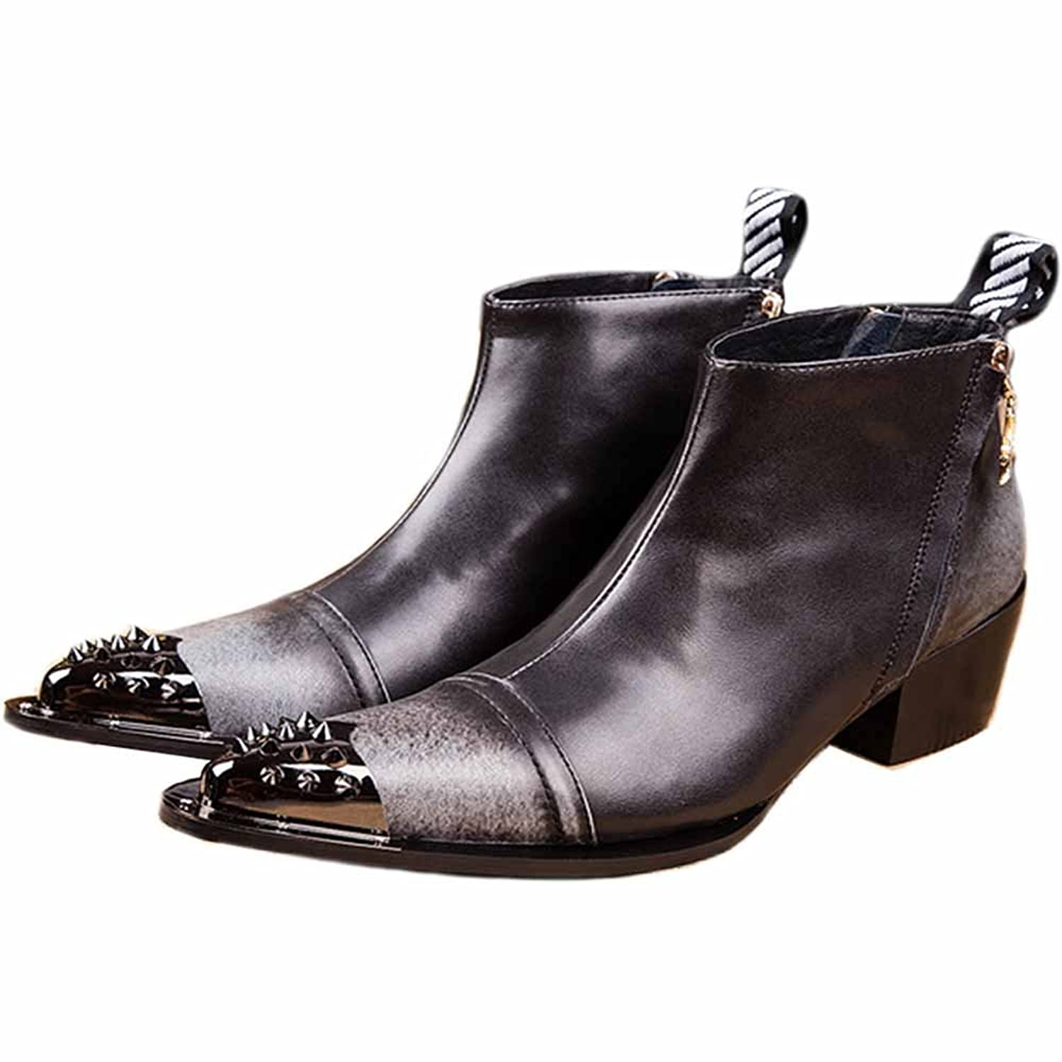 55mm Two Tone Leather Ankle Boots Rivet Shoes Punk Fashion Shoes
