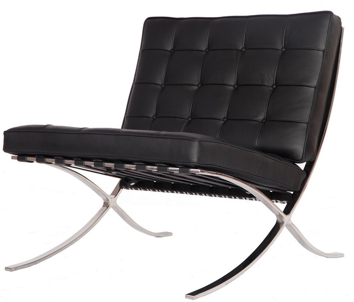 eMod - Modern Pavilion Barcelona Chair Aniline Leather Black