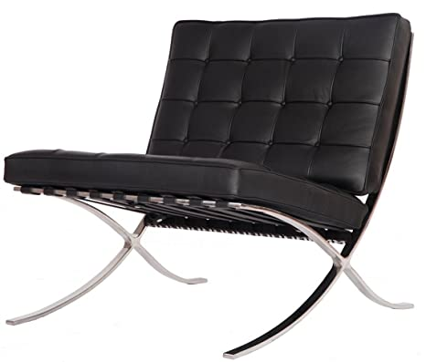 eMod - Mies Barcelona Chair Reproduction Replica Style Italian Leather Black