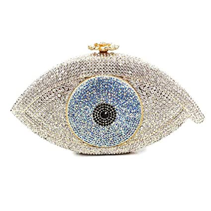 Liergou Embrague pequeño sobre Big Eyed Rhinestone Crystal Clutch Bag Mini Chain Clutch Bag