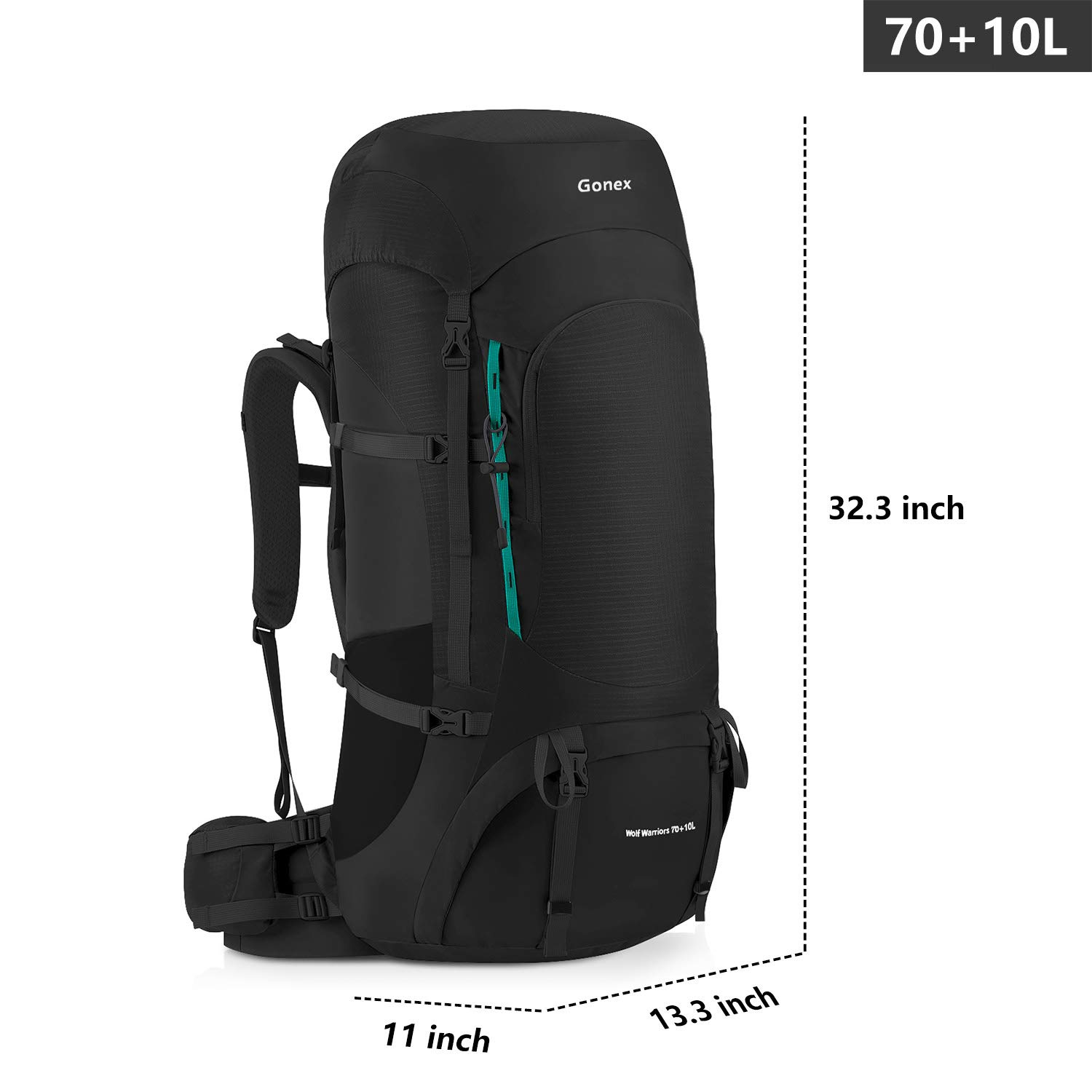 Gonex 70L 80L Internal Frame Backpack for Backpacking Hiking Traveling Mountaineering Rain Cover Included