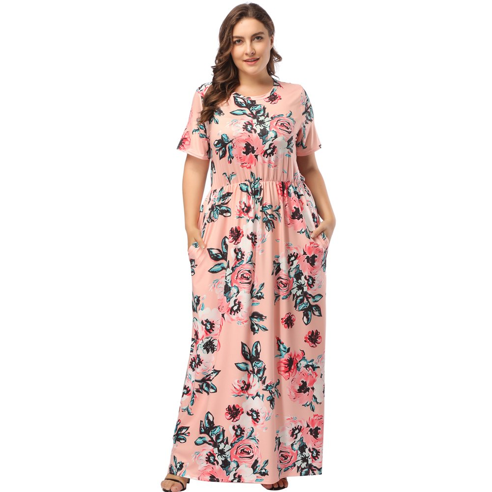 TALLA (EU54-56)3XL. Lover-Beauty Vestido Largo Mujer Talla Grande Moda Bolsillo Top Falda para Fiesta Verano Manga Corta Floral Estampada Suleto Moda de Ropa Elegante Maxi Rosa 2 (EU54-56)3XL