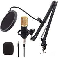 Global-store BM800 Kit de micrófono de condensador XLR Studio Podcast micrófono con suspensión de micrófono ajustable…