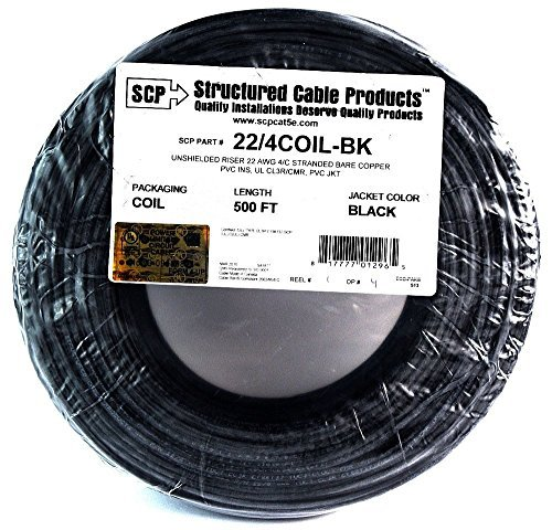 22 Ga 4 Conductor UL STRANDED COPPER nero 500 FT Security Alarm Wire by Structured Cable Products