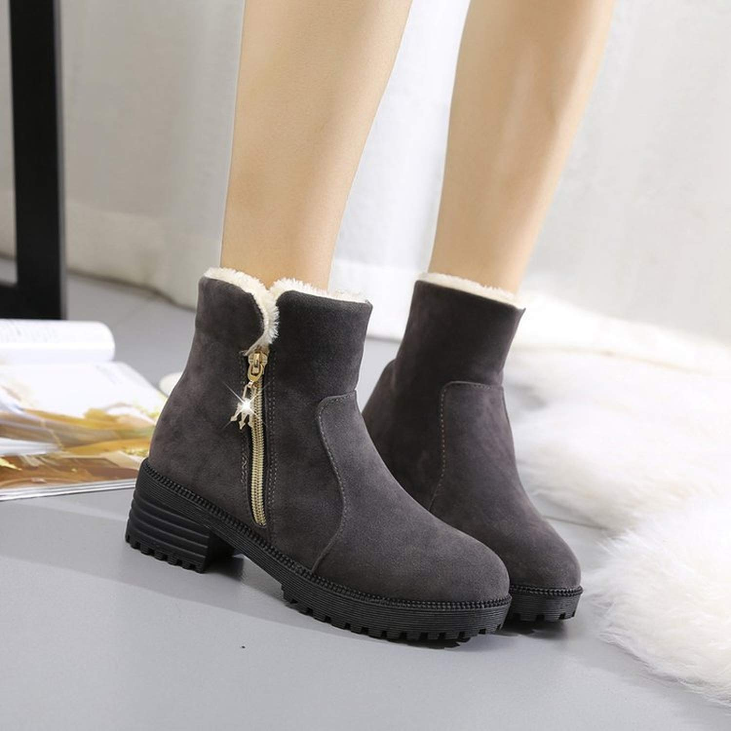 Mingpinstyle Boots Snow Boots Zipper Non-Slip HeightCotton-Padded Shoes