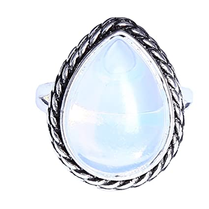 Precious Metal Without Stones Genuine 925 Sterling Silver Moonstone Pear Statement Ring Size N Gift Wrapped High Quality Materials Jewelry & Watches