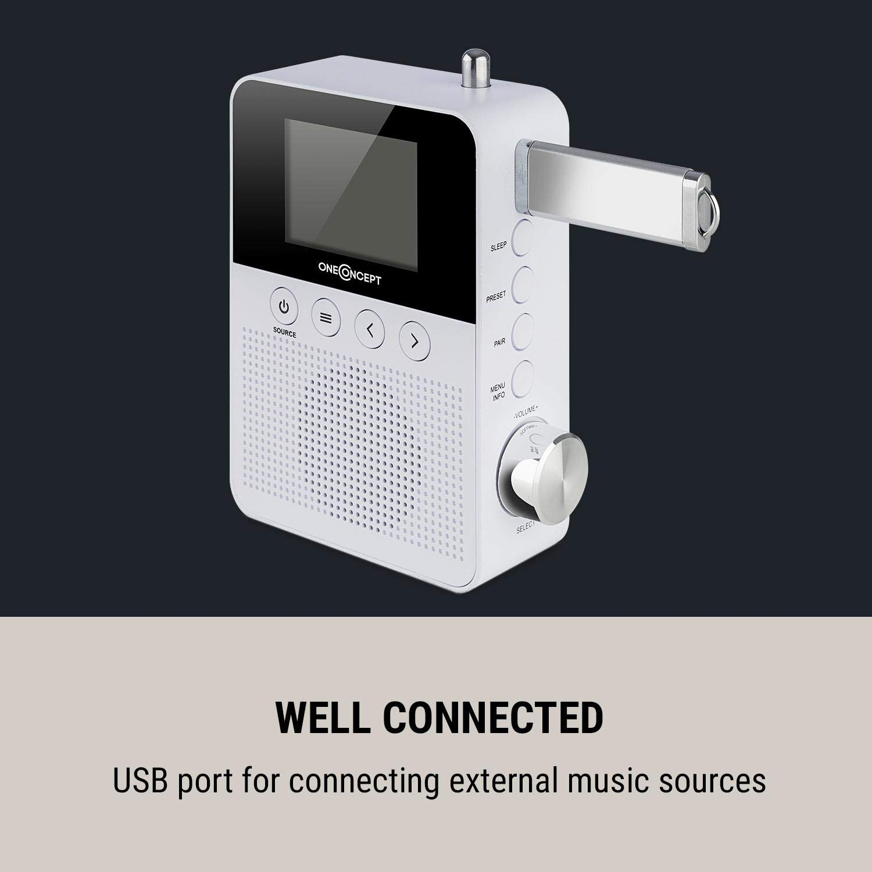 oneConcept KR-120 /• Radio de Cocina /• Digital de Techo /• FM y Dab /• 20 Emisorias en la Memoria /• B/úsqueda Manual y autom/ática /• Pantalla LCD /• Alarma /• Negro