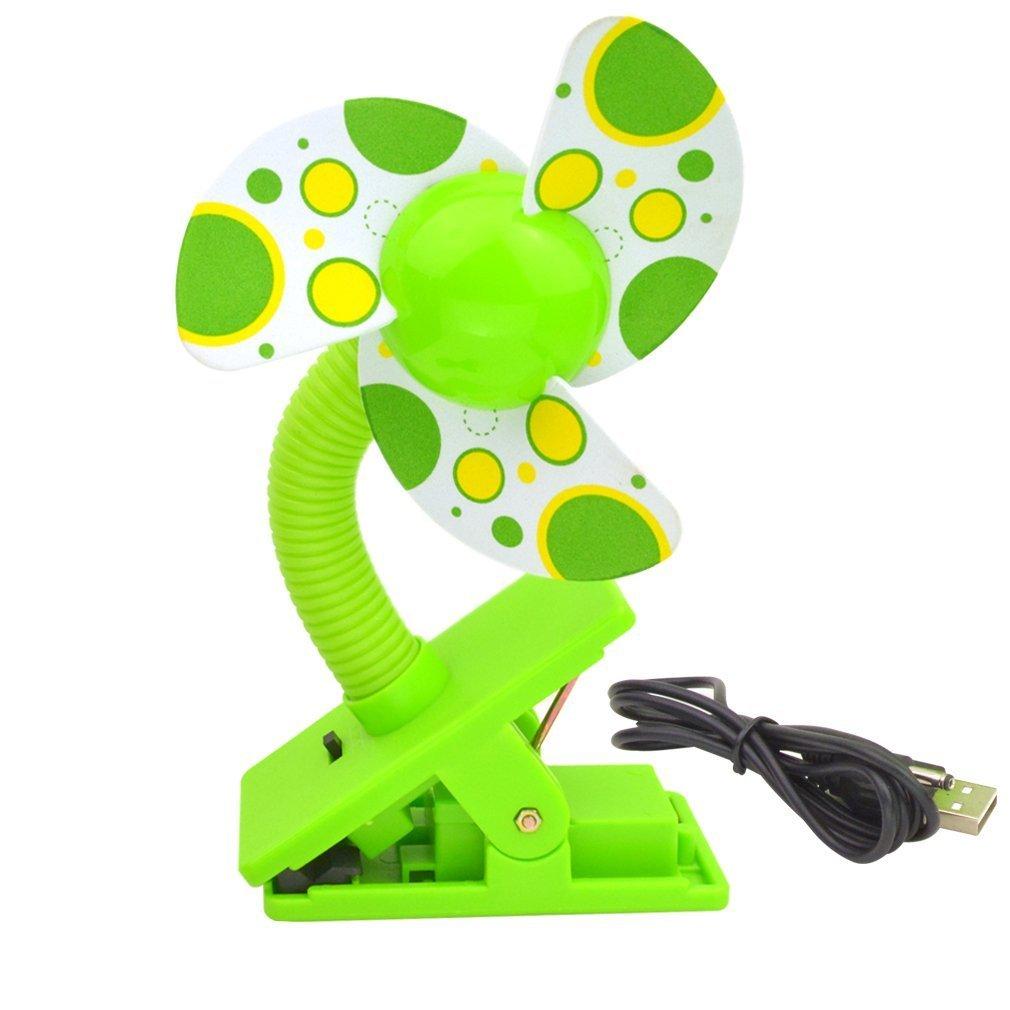 Clip-On Mini Fan USB & Battery, SUMERSHA Baby Stroller Fan for Desk or Stroller Pushchairs Crib Baby Cart (yellow) SUMERSHA-FANY