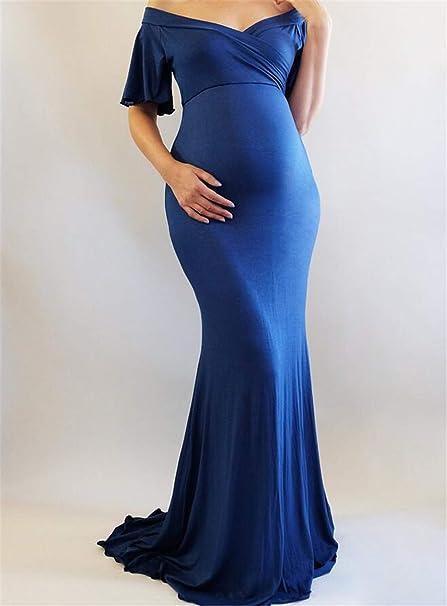 7943287b0 NUO-Z Vestido Largo de Maternidad Vestido con Cuello en V para Embarazadas  Elegante Hombros