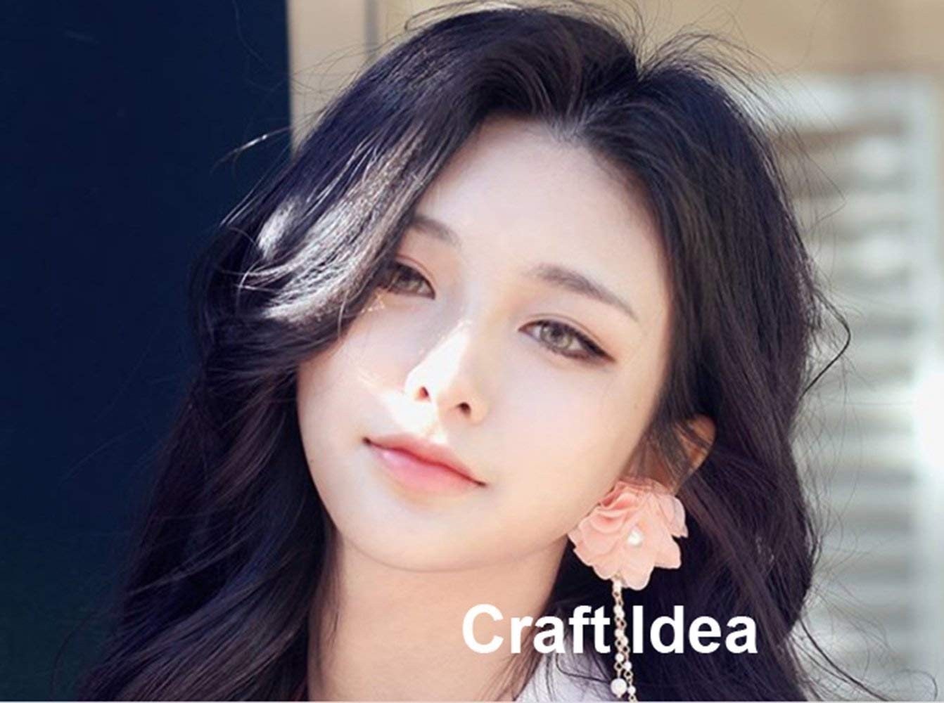 YYCRAFT 5 Yards 2.5 3D Chiffon Flower Lace Trims Bridal Bouquets Cluster Flower DIY Sewing Rose Pink