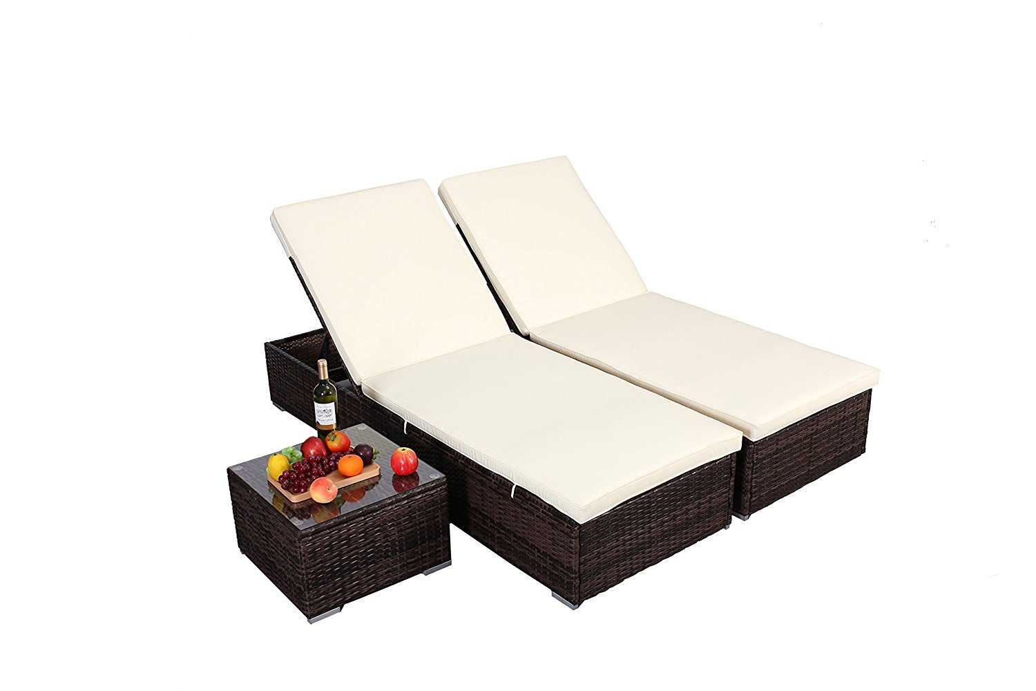 Do4U 3 Pcs Outdoor Patio Synthetic Adjustable Rattan Wicker Furniture Pool Chaise Lounge Chair Set with Table (Mix-7003)