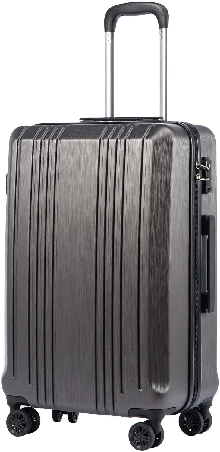Coolife Luggage Suitcase PC+ABS with TSA Lock Spinner Carry on Hardshell Lightweight 20in 24in 28in (grey, M(24IN))