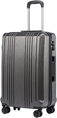 Coolife Luggage Suitcase PC ABS with TSA Lock Spinner Carry on Hardshell Lightweight 20in 24in 28in grey, L 28IN