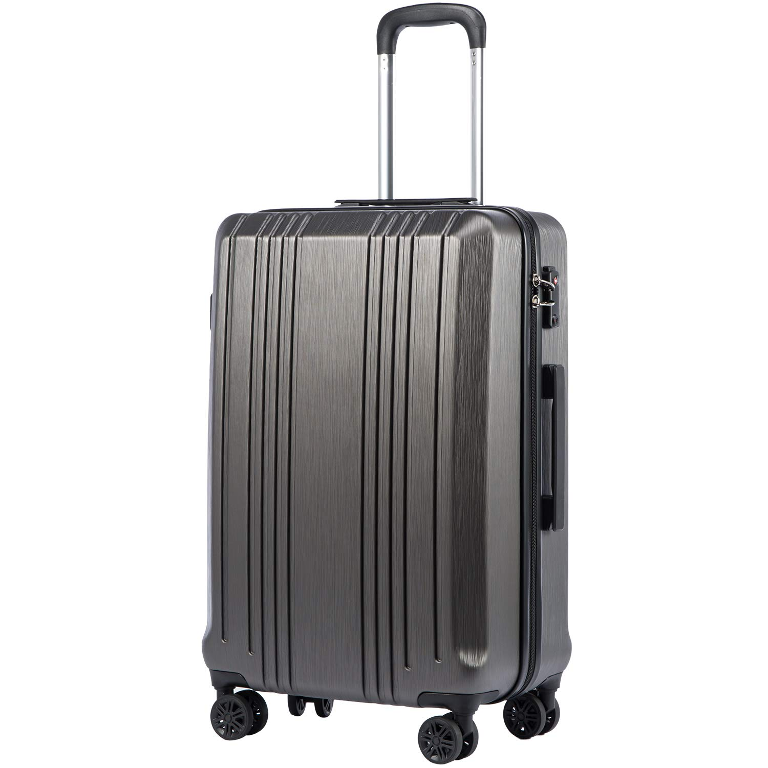 Coolife Luggage Expandable Suitcase PC+ABS with TSA Lock Spinner 20in 24in 28in (grey, L(28IN))