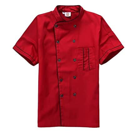 Black, red, White Short Sleeve Chefs Jacket Kitchen Cook Coat Stripe Uniforms 3Colors