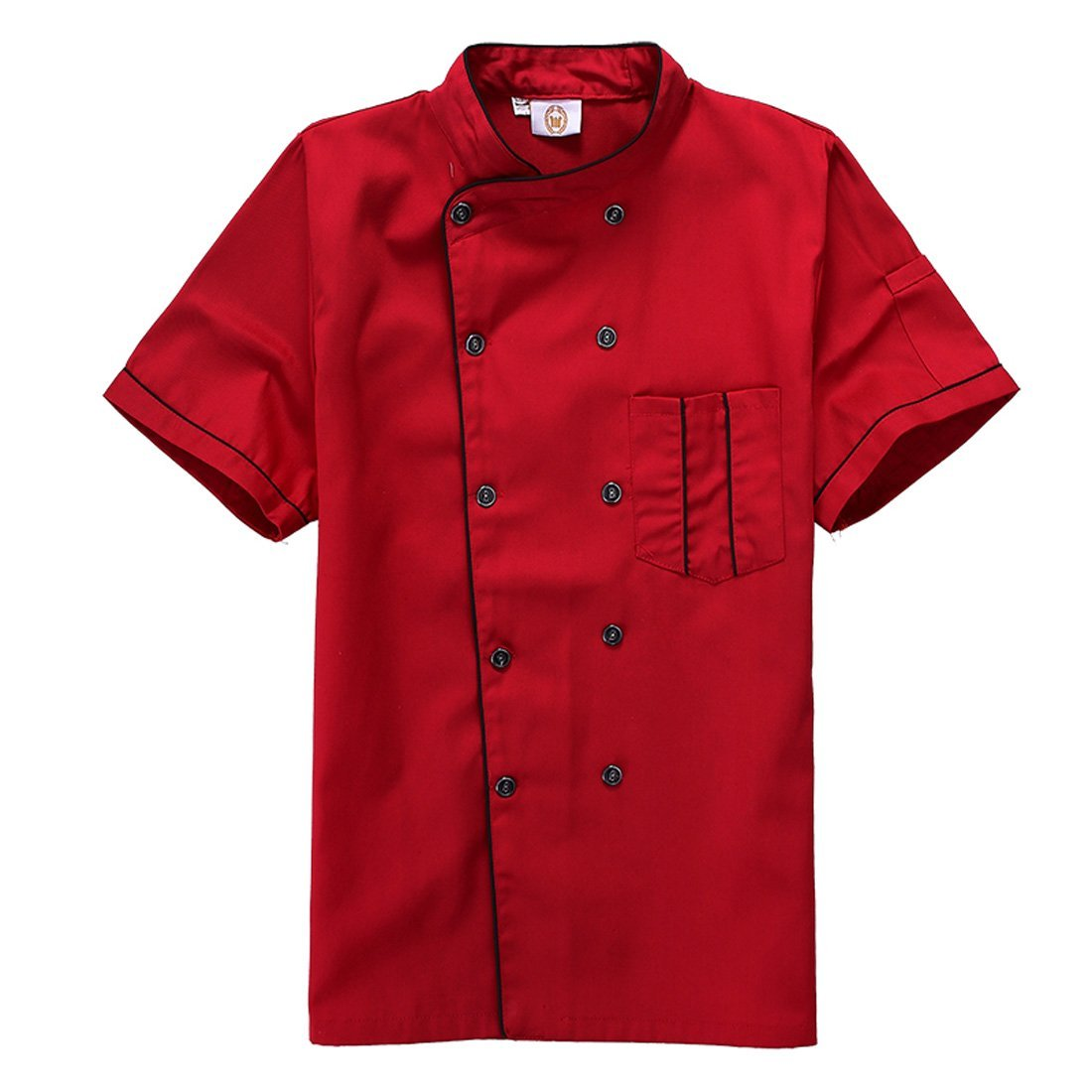 Short Sleeve Chef's Jacket Kitchen Cook Coat Stripe Uniforms (XL, red)