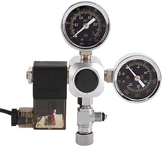 Zerone Aquarium CO2 Regulator, Doppel druckmanometer Blasenzähler mit Rückschlagventil Automatische Zeitschaltung Aluminiumlegierung Material für Aquarium-System